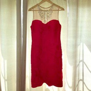Adrianna Papell Illusion Rhinestone Cocktail Dress